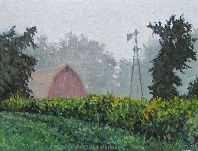 """""""Farm in the Fog"""" original fine art by Hannah C. Heyer"""