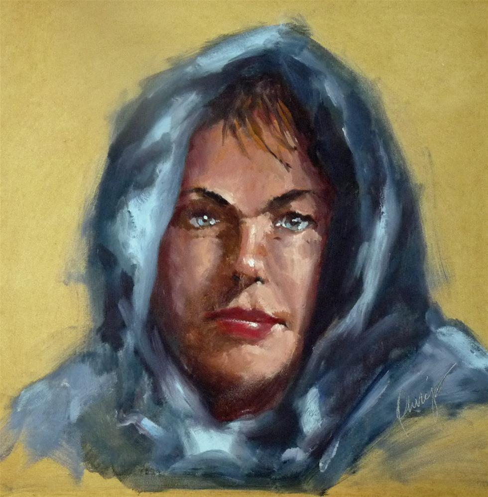 """""""Blue Scarf"""" original fine art by Sharman Owings"""