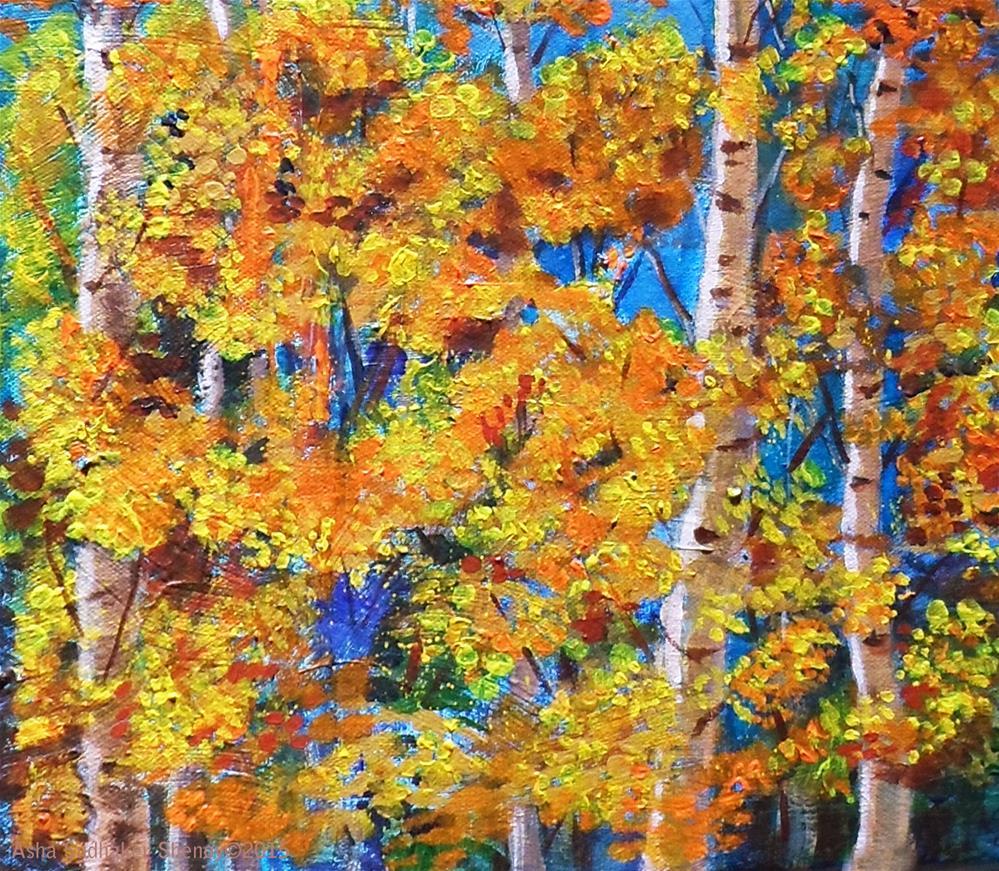 """The Golden autumn"" original fine art by Asha Shenoy S"