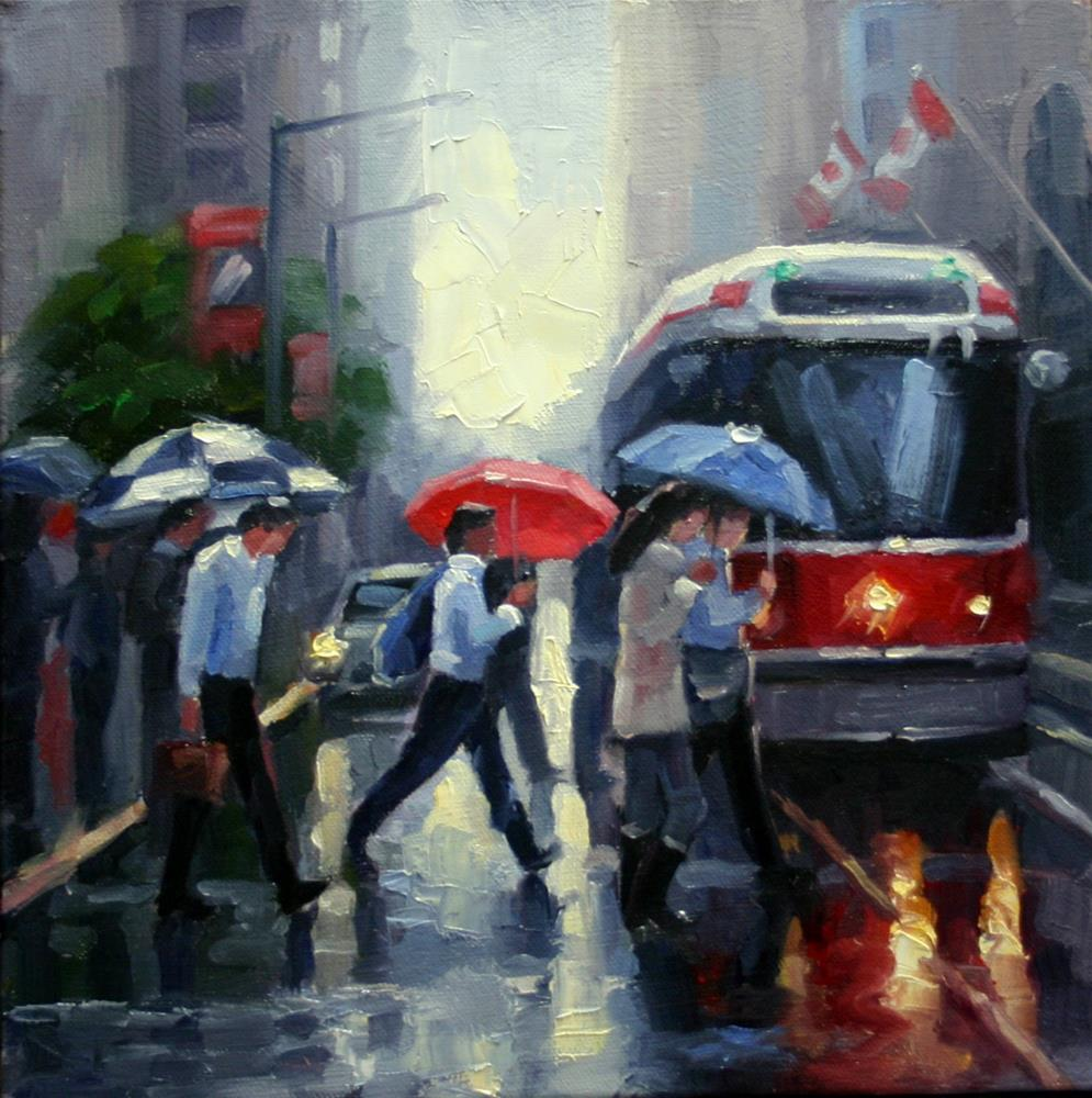 """Umbrellas on King Street, Toronto"" original fine art by Catherine Jeffrey"