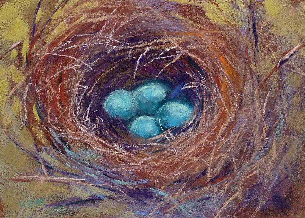 """Blue Bird Nest with Eggs"" original fine art by Karen Margulis"