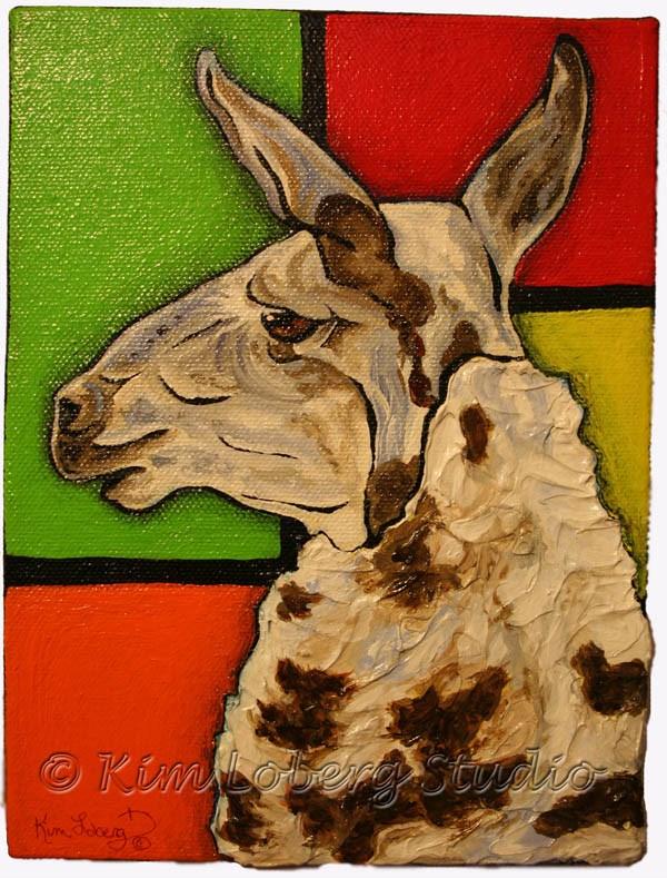 """A Llama Named Piet"" original fine art by Kim Loberg"