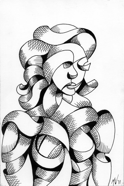 """Mark Webster - Untitled Portrait - Abstract Futurist Figurative Ink Drawing"" original fine art by Mark Webster"