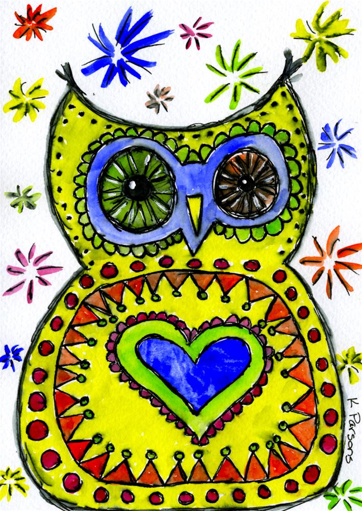 """Love Hoots"" original fine art by Kali Parsons"