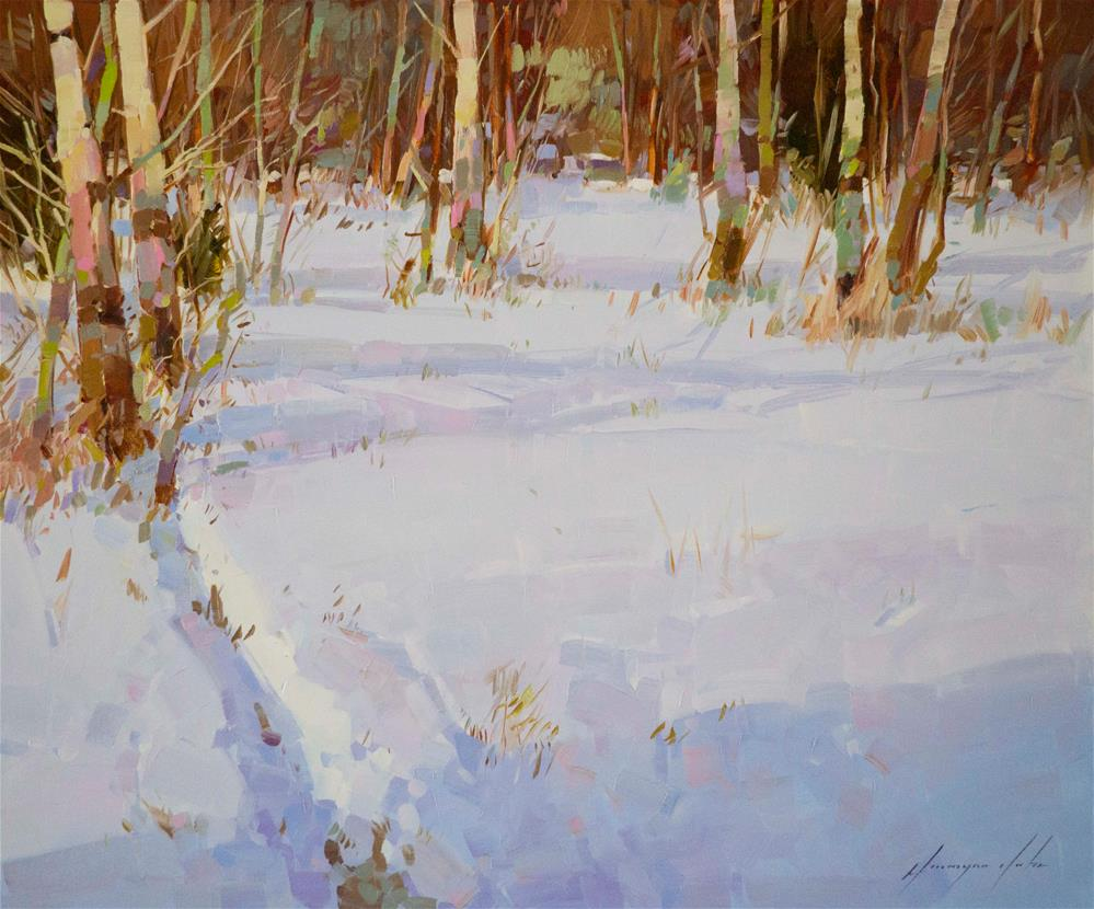 """Through the Snow Oil Painting on Canvas"" original fine art by V Y"