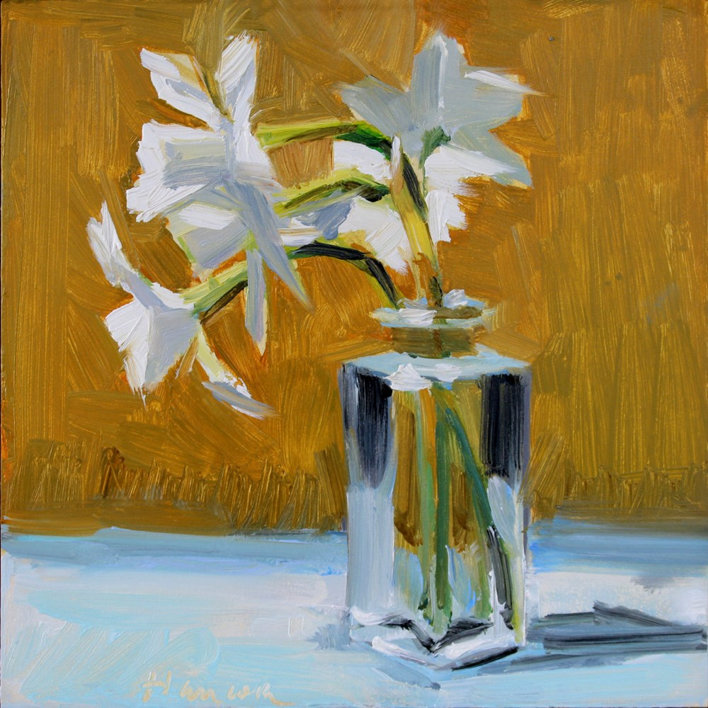 """White Jonquils, Square Glass Jar on Gold"" original fine art by Gretchen Hancock"