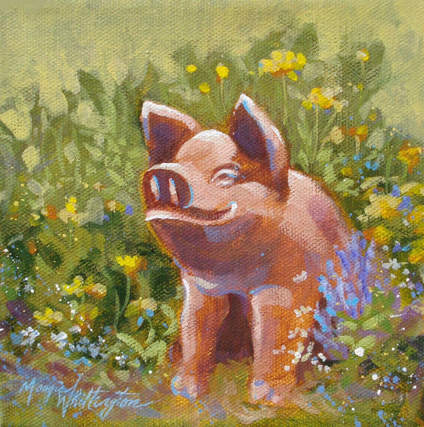 """Yard Pig"" original fine art by Margie Whittington"