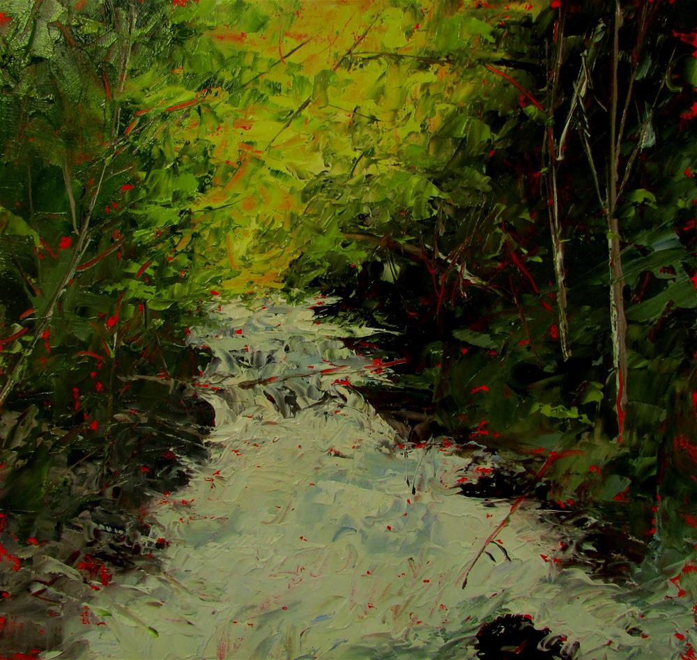 """8x 8 inch oil Rushing Waters"" original fine art by Linda Yurgensen"