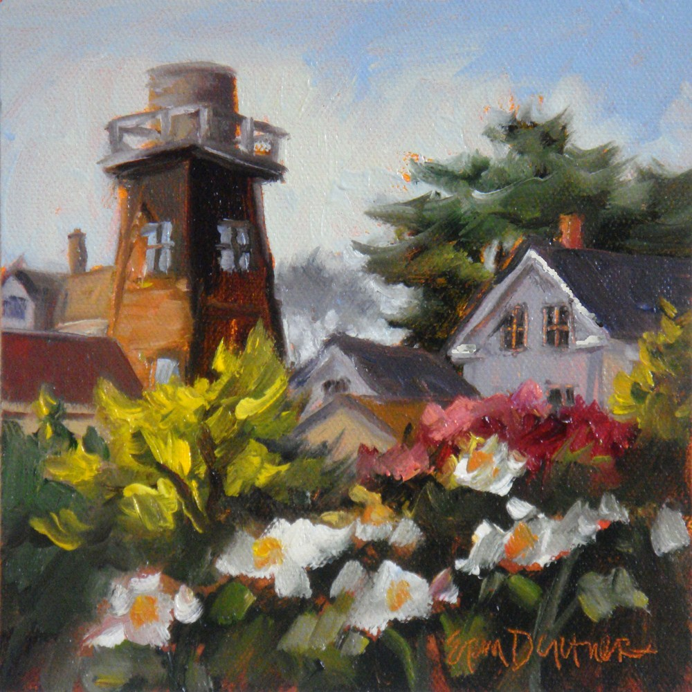 """Roof Upon Roof Upon Watertower"" original fine art by Erin Dertner"
