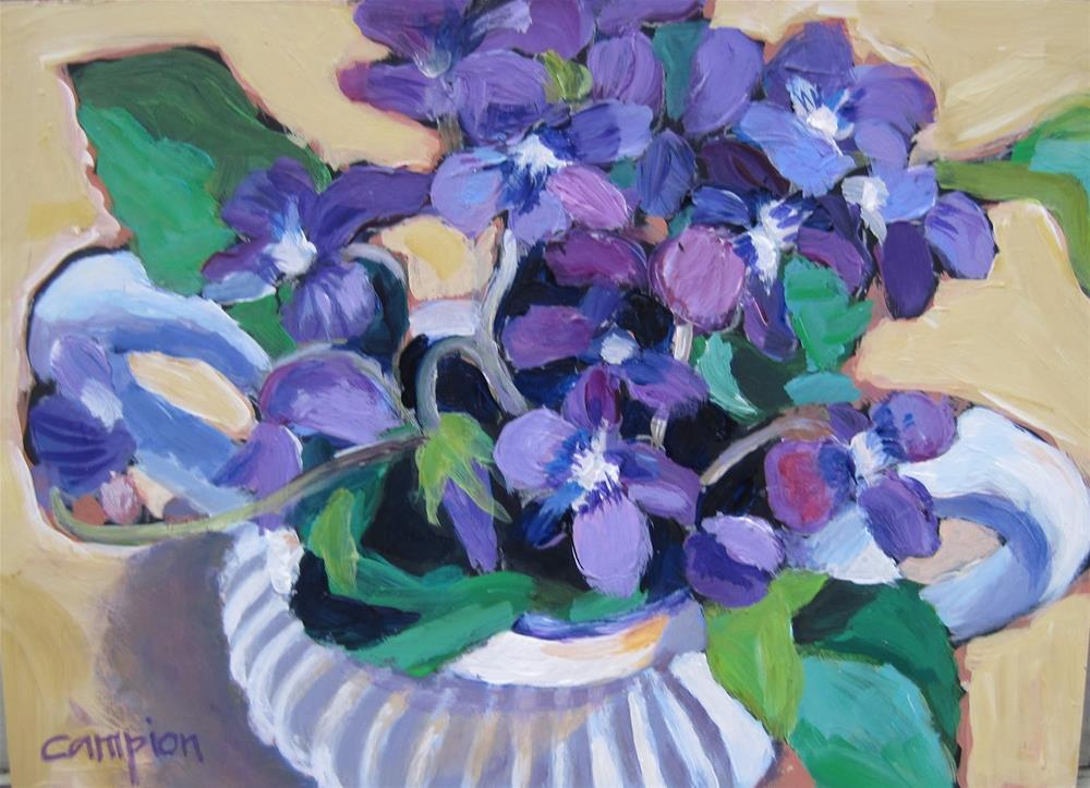"""Violets in a Sugar Bowl"" original fine art by Diane Campion"