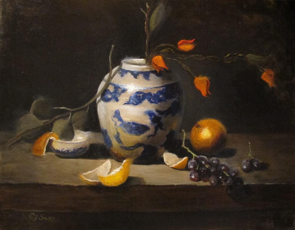 """Chinese vase with fruit"" original fine art by Cheryl J Smith"