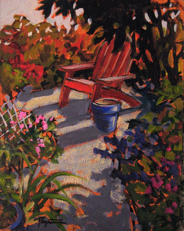 """Red Chair 8x10_acry"" original fine art by Jan Poynter"
