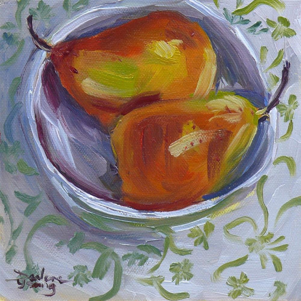 """610 Pears Napping"" original fine art by Darlene Young"