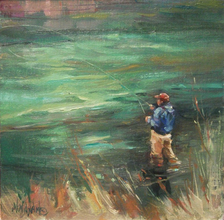"""Emerald Waters"" original fine art by Mary Maxam"