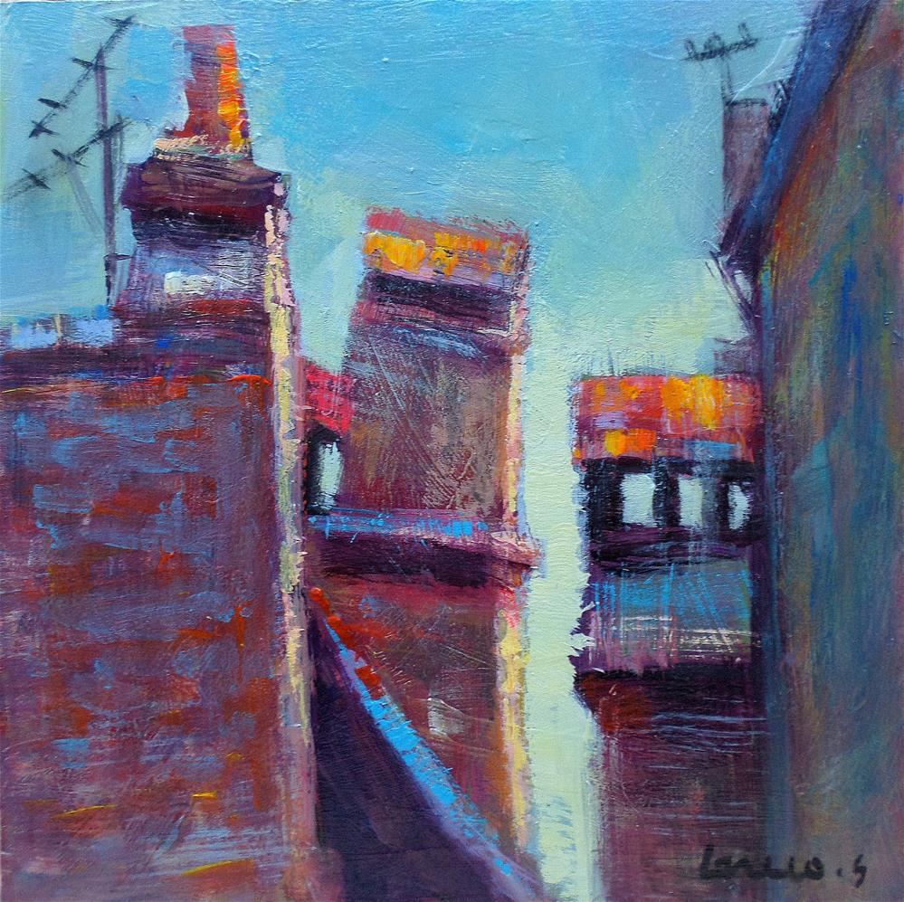 """Old chimney on the roof"" original fine art by salvatore greco"