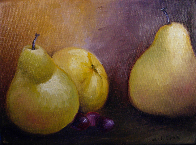 """Pears 1"" original fine art by Elaine Lynest"