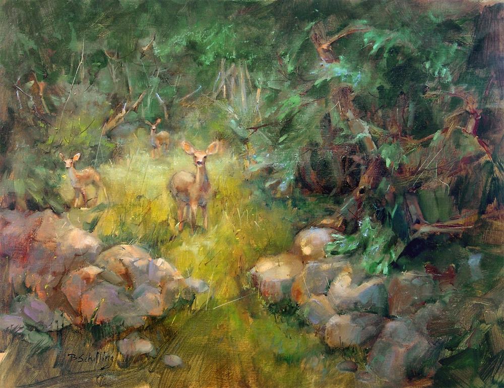 """Mule Deer"" original fine art by Barbara Schilling"