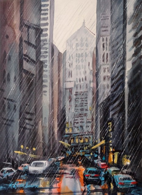 """Rainy Day of Trade~Chicago"" original fine art by Kathy Los-Rathburn"