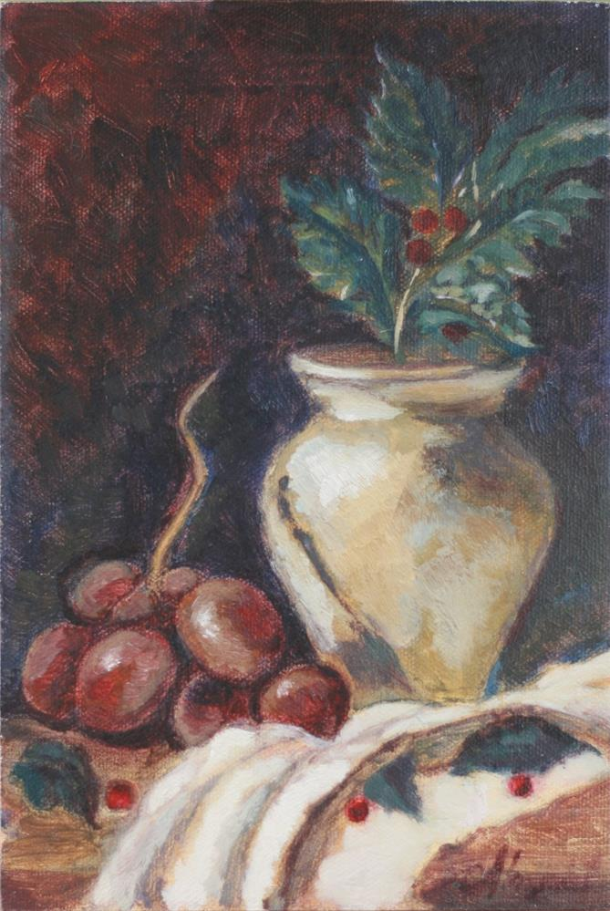 """Red Grapes with Holly"" original fine art by Adriana B. Almquist"