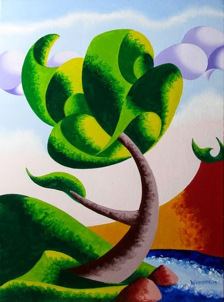 """Mark Adam Webster - Oak Tree at Sunset Abstract Geometric Futurist Landscape Painting"" original fine art by Mark Webster"