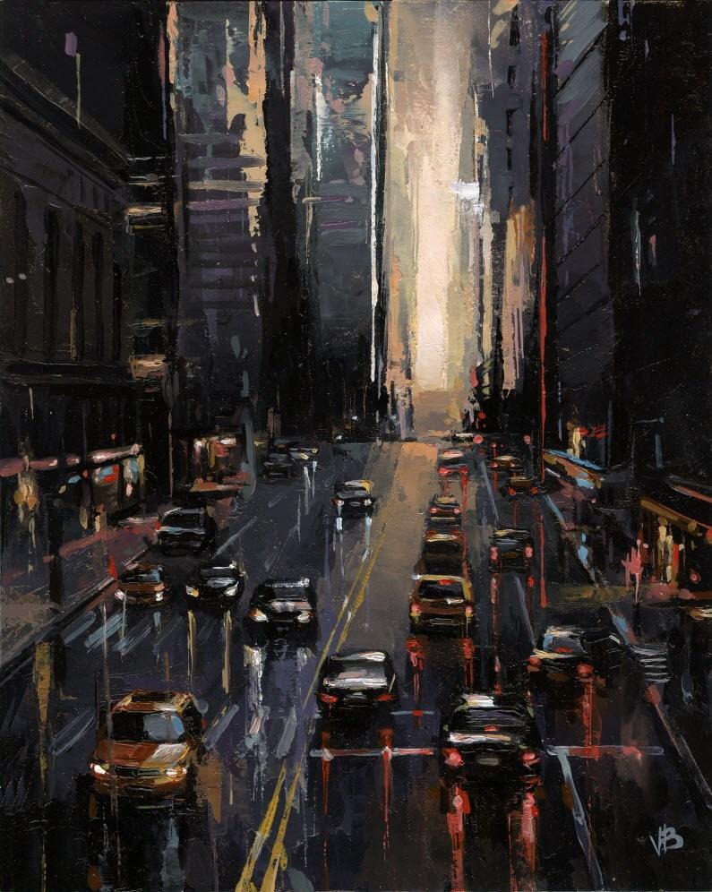 """""""42nd Street NYC"""" original fine art by Victor Bauer"""