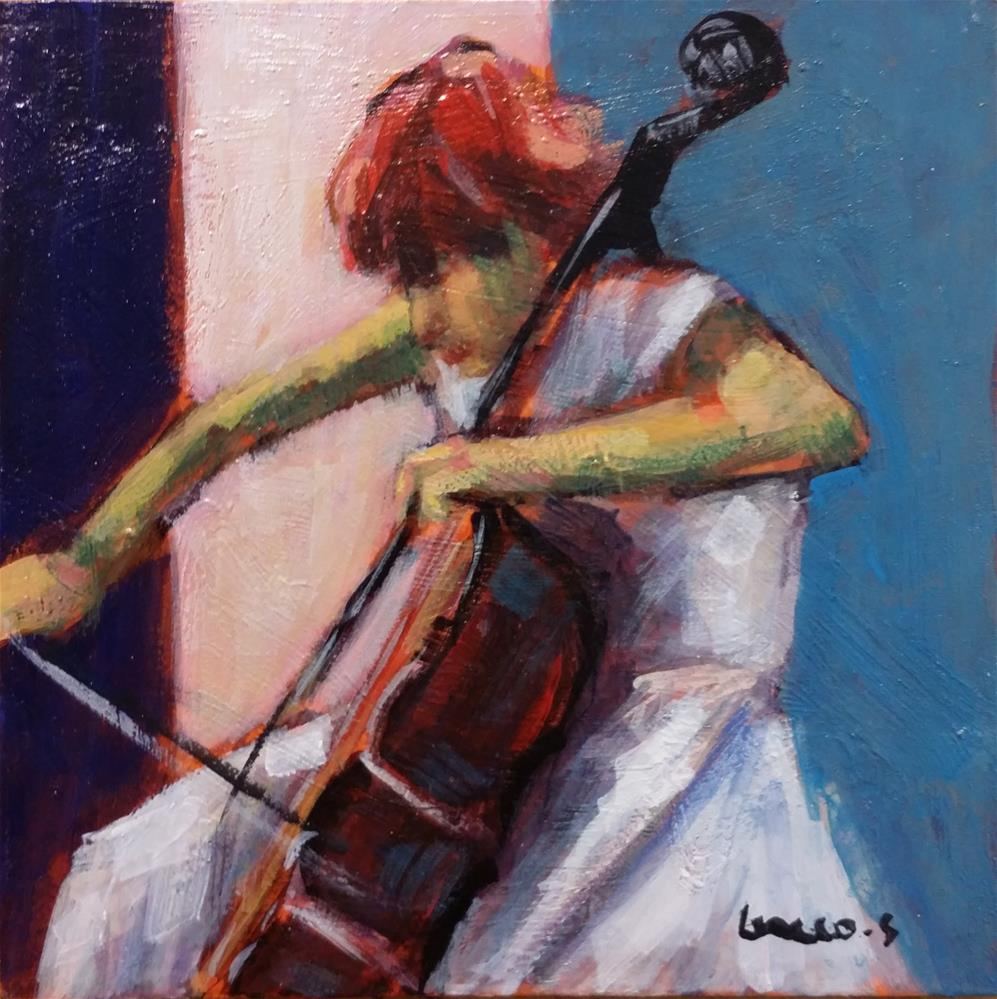 """violoncellist"" original fine art by salvatore greco"