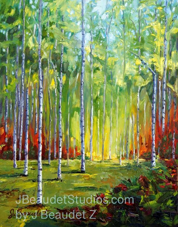 """""""Birch tree challenge"""" original fine art by Jennifer Beaudet"""