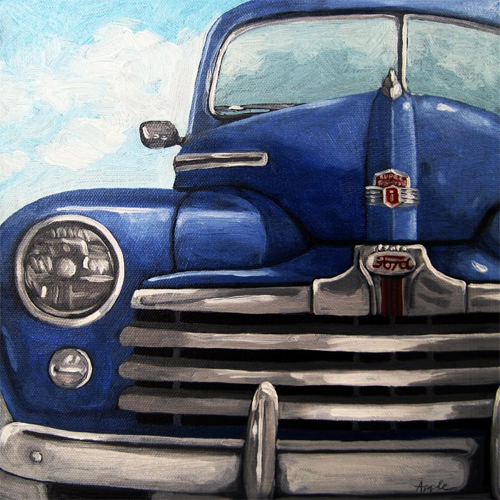 """Vintage Blue Ford Car automobile oil painting"" original fine art by Linda Apple"