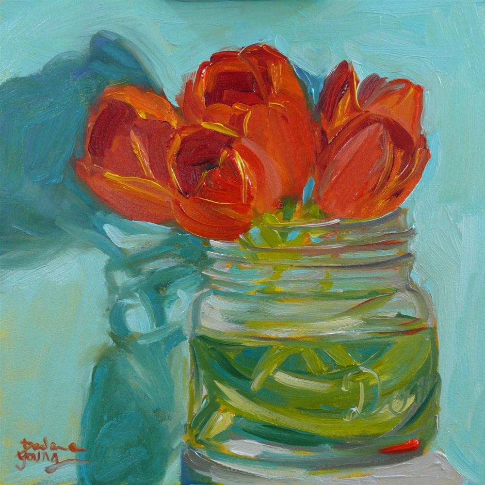 """638 Shadowy Tulips"" original fine art by Darlene Young"