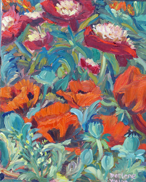 """Poppies and Peonies, oil on canvas, 8x10"" original fine art by Darlene Young"