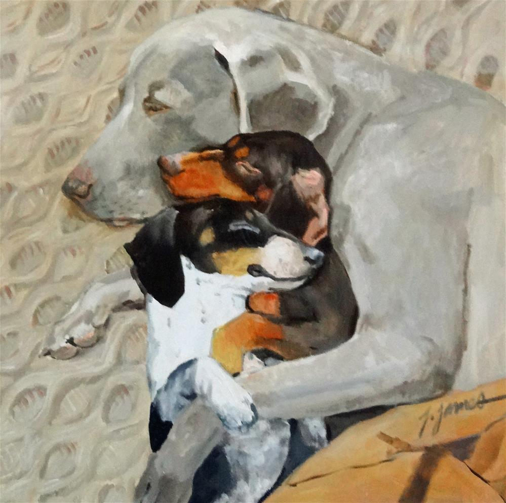 """sleeping dog series"" original fine art by Jini James"