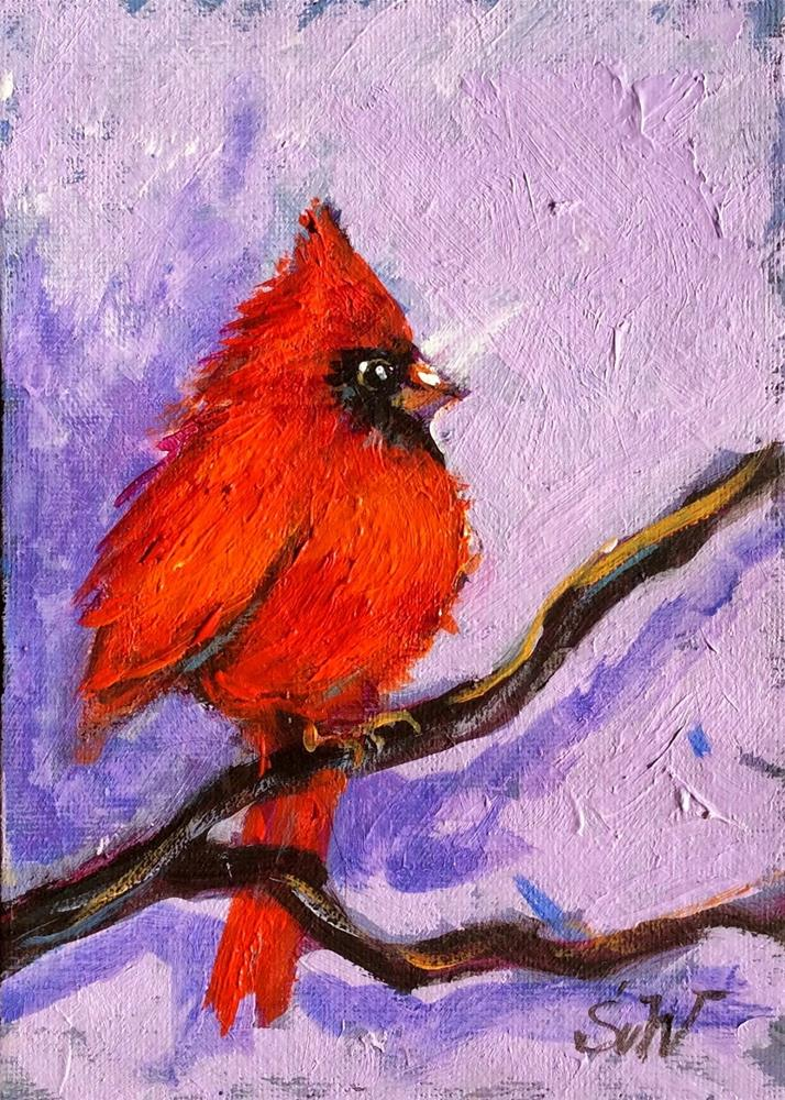 """Cardinal bird painting"" original fine art by Sonia von Walter"