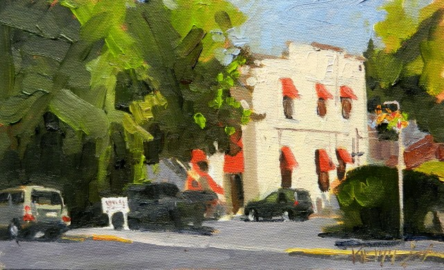 """Spanish Building Edmonds plein air painting by Robin Weiss"" original fine art by Robin Weiss"