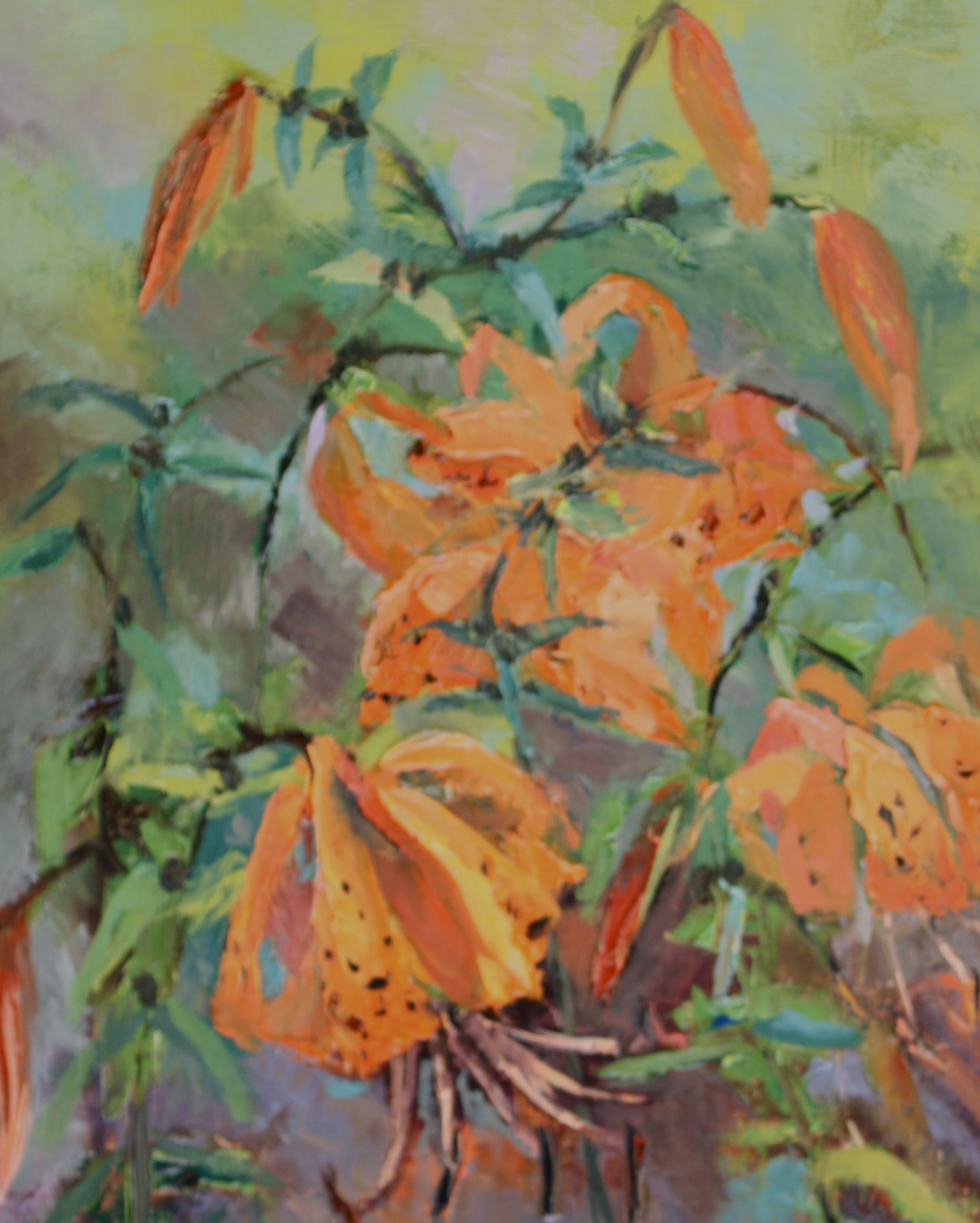 """Tiger Lilies in the Wind"" original fine art by Pamela Sweet"
