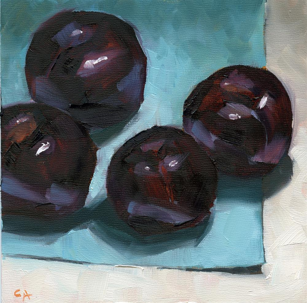 """Four Plums"" original fine art by Cynthia Armstrong"
