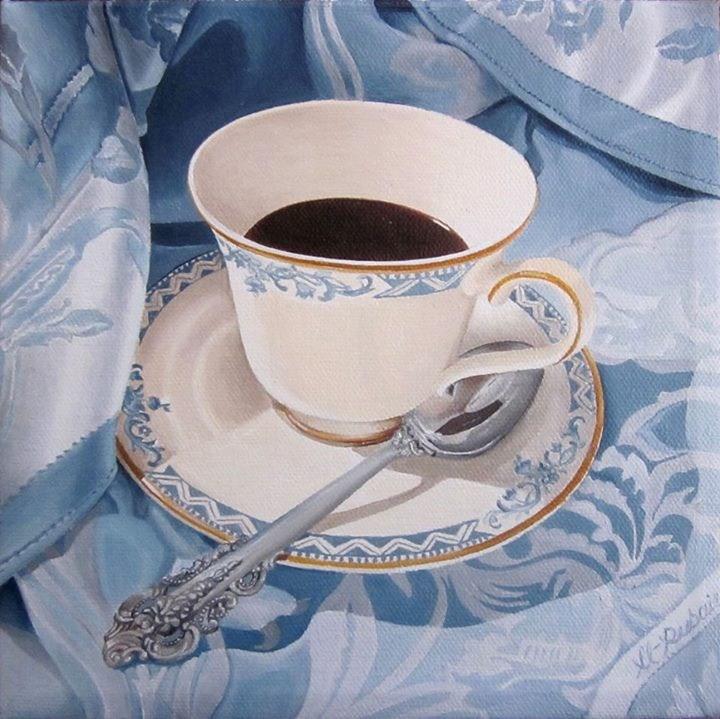 """Blue Coffee"" original fine art by Catherine Al-Rubaie"