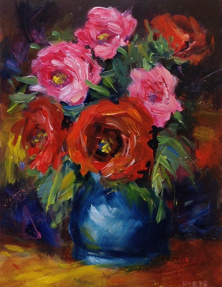 """Original rose oil painting"" original fine art by Alice Harpel"