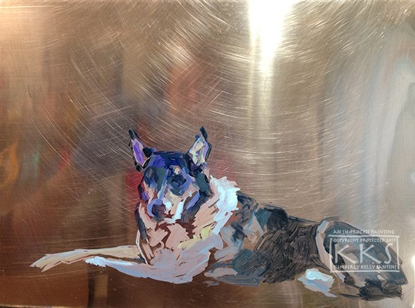 """Bodhi, in process, a painting on copper"" original fine art by Kimberly Santini"