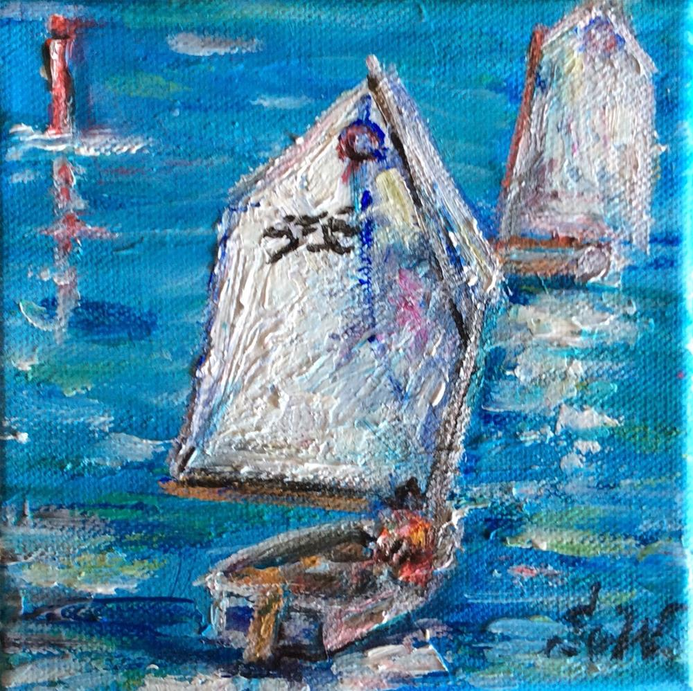 """Bermuda Dinghy Sailing"" original fine art by Sonia von Walter"
