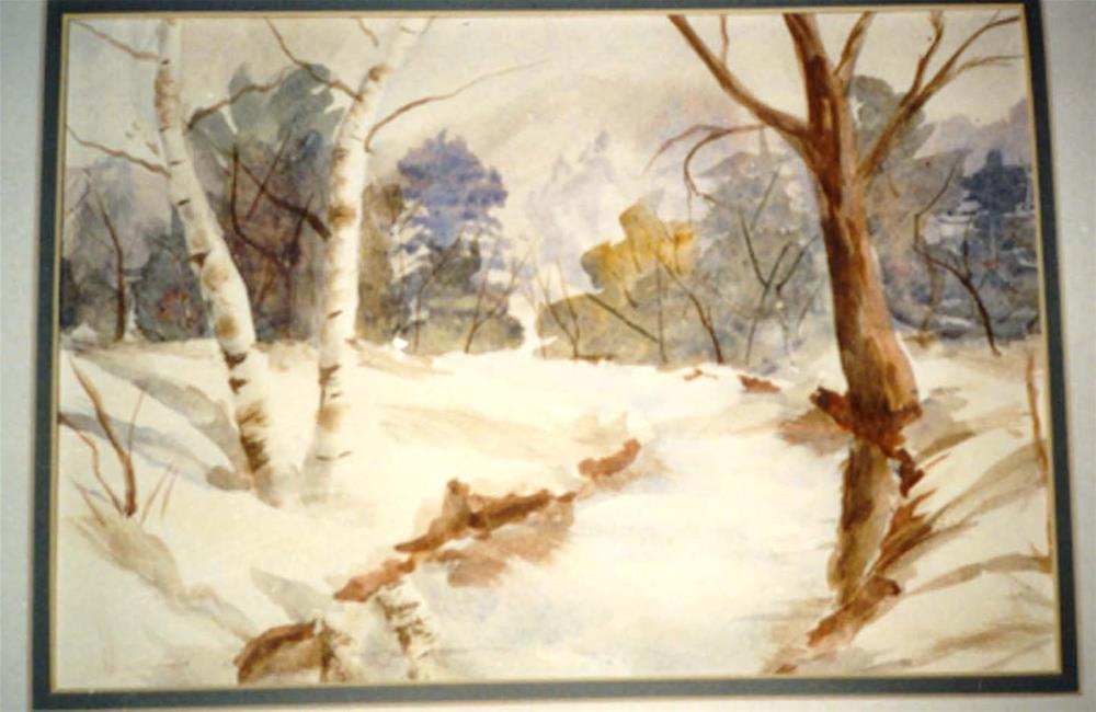 """Winter Stream"" original fine art by Lina Ferrara"