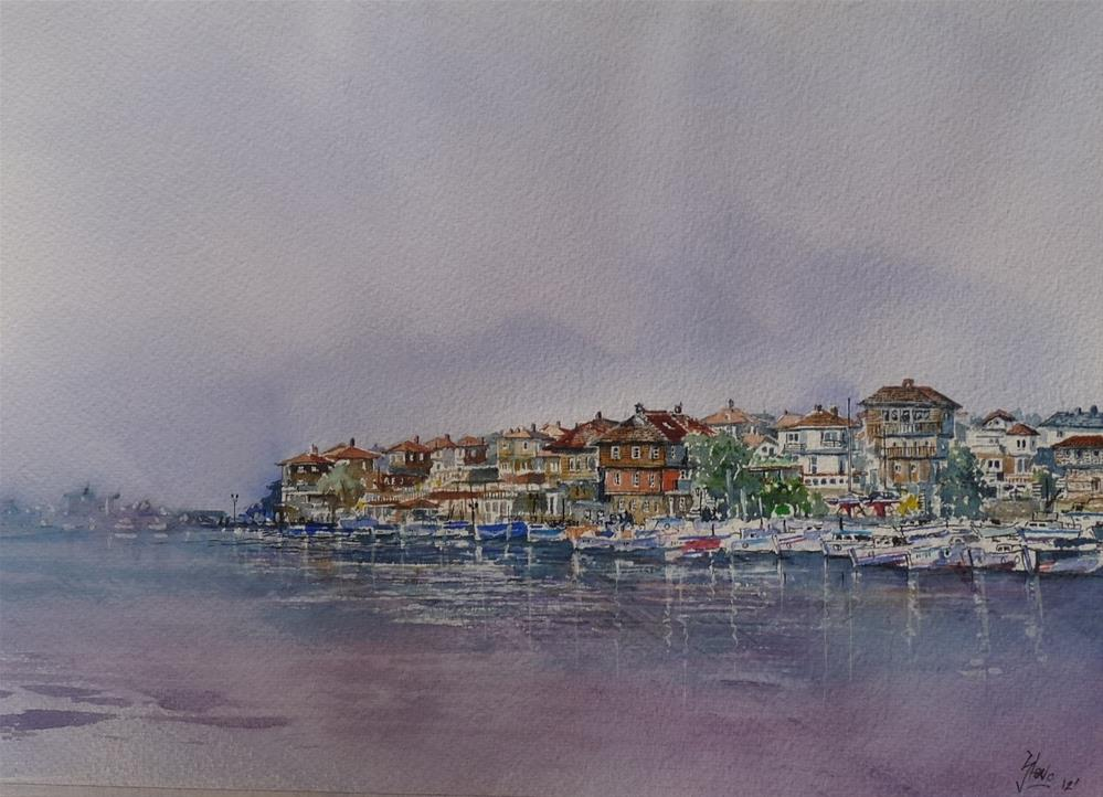 """Pretty in Peach in Sozopol"" original fine art by Martin Stephenson"