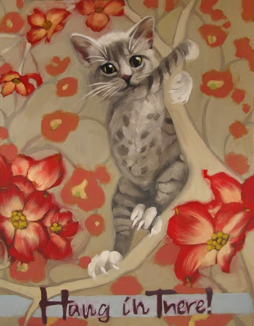 Hang in There Kitten painting 2012 revised new original fine art by Diane Hoeptner