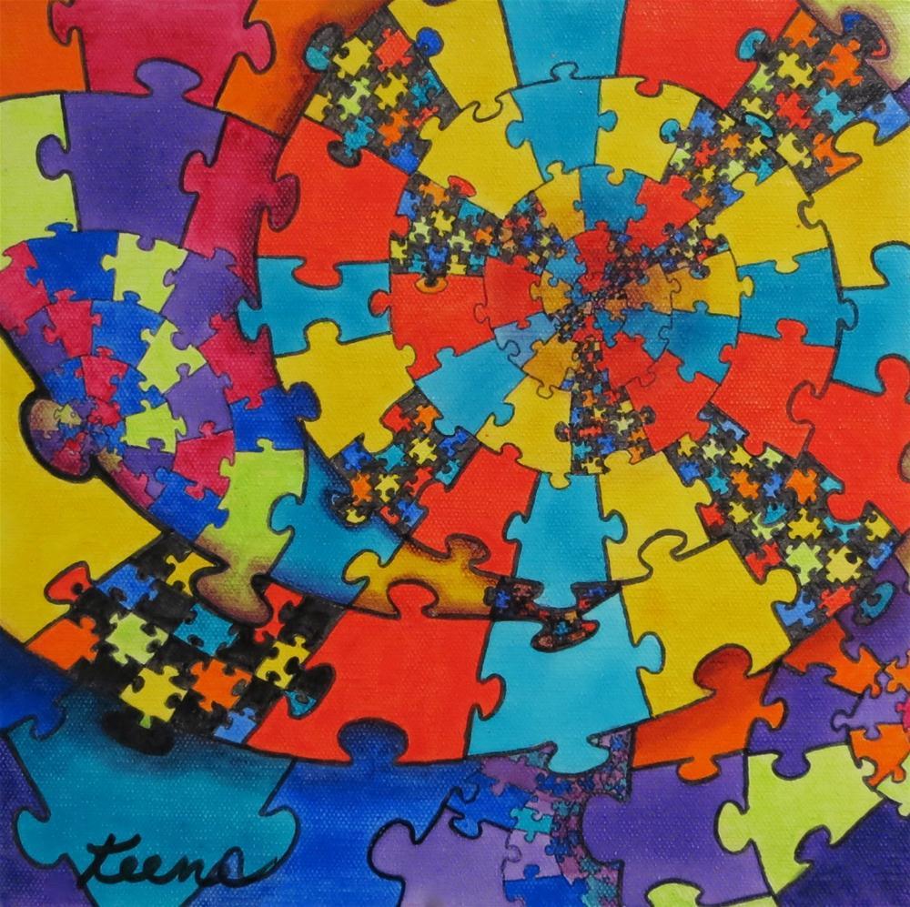 Puzzled original fine art by Carol Keene