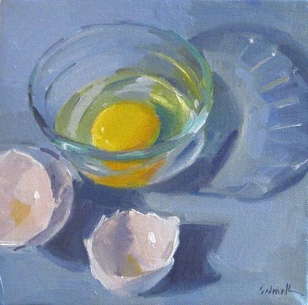 """Blue Egg - kitchen art food still life oil painting"" original fine art by Sarah Sedwick"