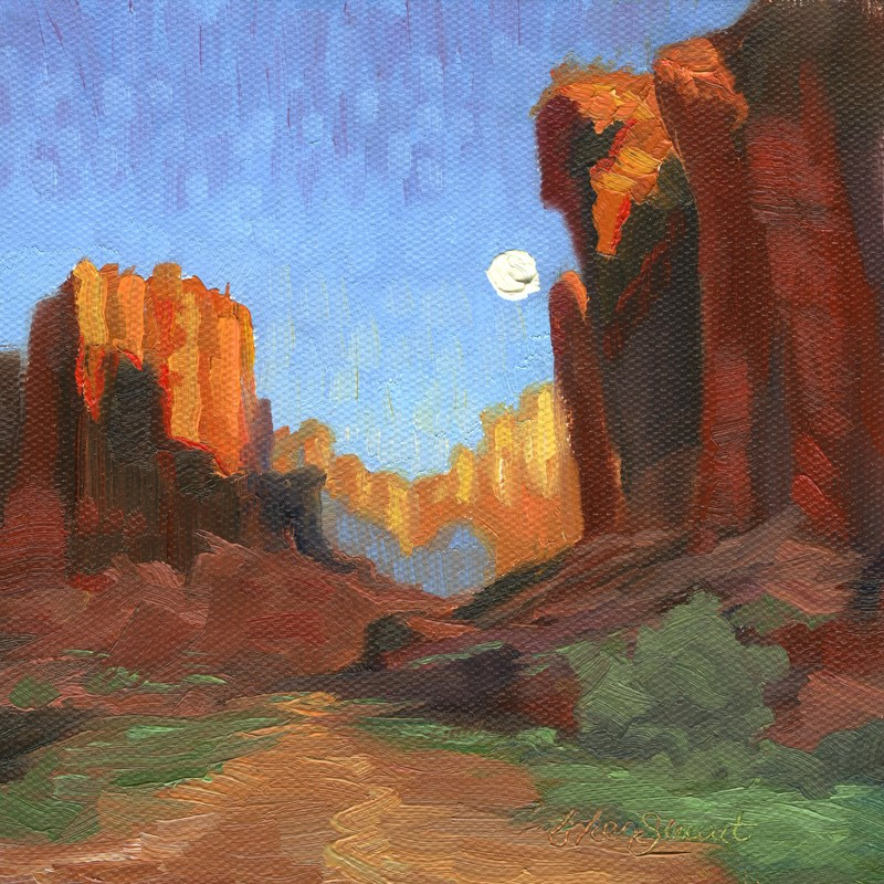 """Sun Rise, Moon Set"" original fine art by B. Rex Stewart"