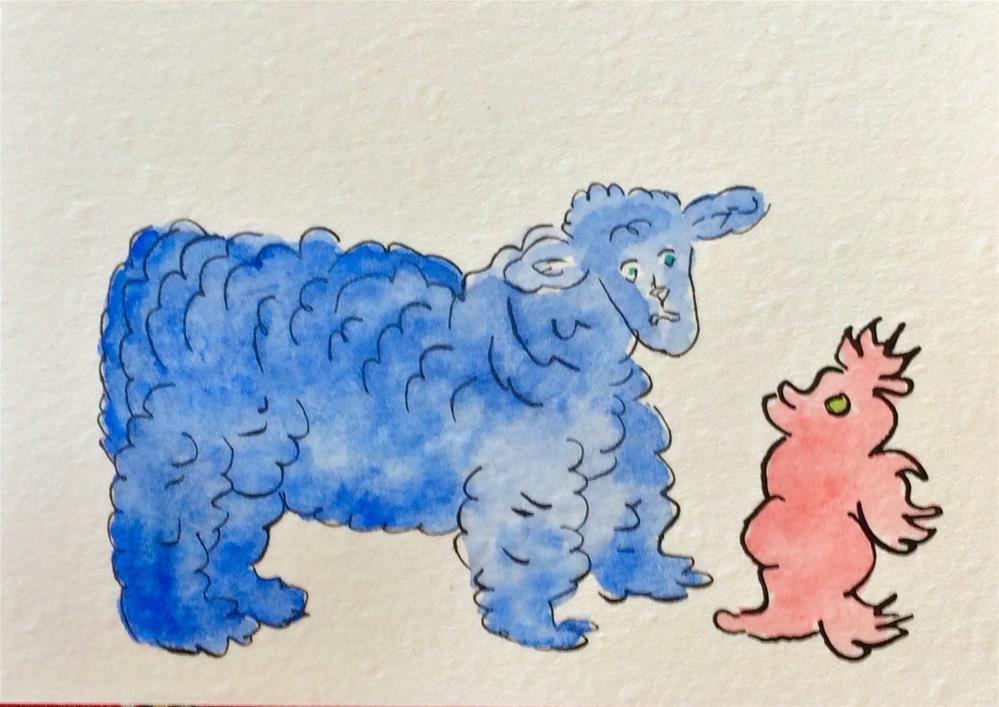 """""""Sheepish"""" original fine art by Susan Medyn"""