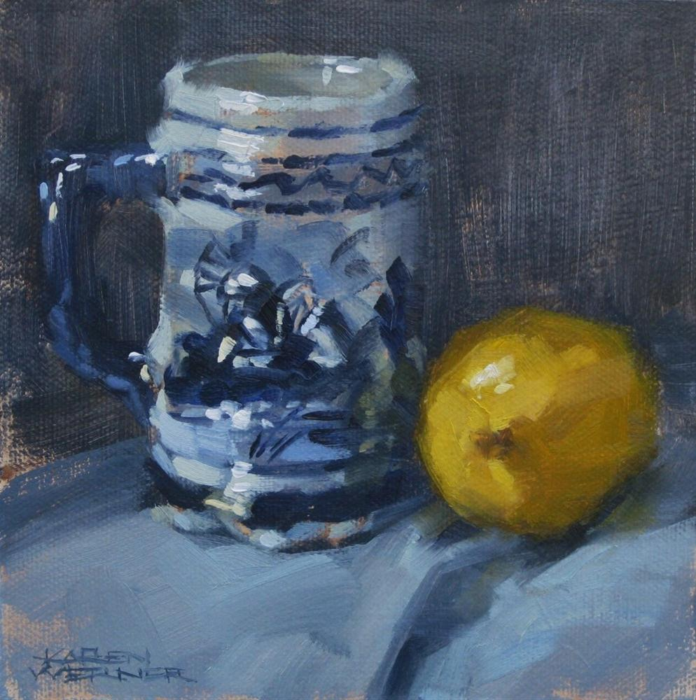 """Lemon And Blue"" original fine art by Karen Werner"