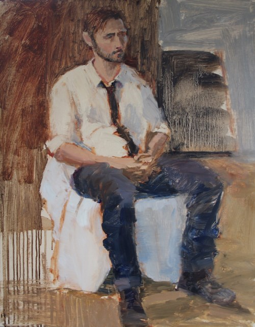 """""""#104 before the interview"""" original fine art by Nancy Wallace"""