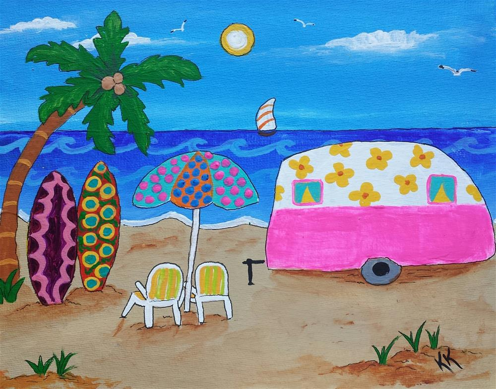 """Spending Time on the Beach"" original fine art by Karleen Kareem"