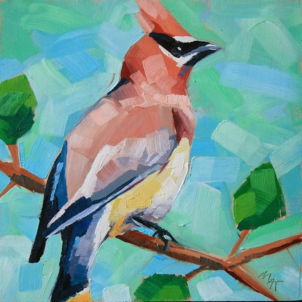 """Waxwing 2"" original fine art by Mary Anne Cary"